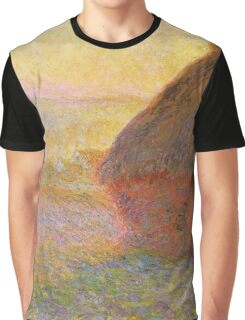 Haystacks, (Sunset) by Claude Monet Graphic T-Shirt