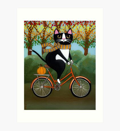 Cat on a Bicycle  Art Print