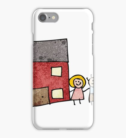 child's drawing of a family home iPhone Case/Skin