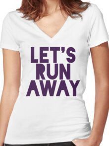 Let's Run Away x Map Women's Fitted V-Neck T-Shirt