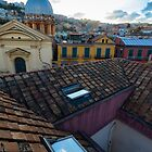 Panorama from the roofs of center of Naples, Italy by ssviluppo