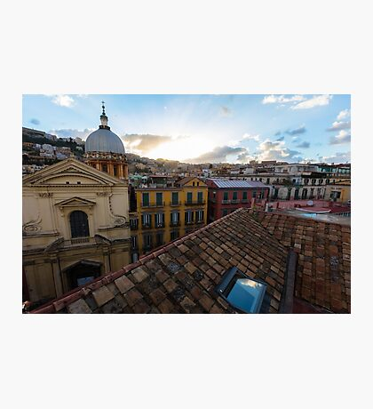 Panorama from the roofs of center of Naples, Italy Photographic Print