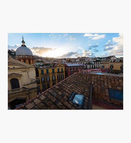 Panorama from the roofs of f Naples, Italy Photographic Print