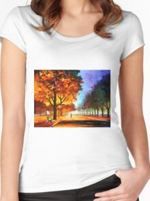 FLAMING NIGHT - Leonid Afremov Women's Fitted Scoop T-Shirt