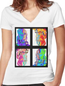 Khaleesi Pop Art [Warhol] | Game of Thrones Women's Fitted V-Neck T-Shirt