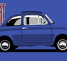 Classic Fiat 500F blue by car2oonz