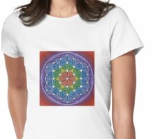 Rainbow Flower of Life Womens Fitted T-Shirt