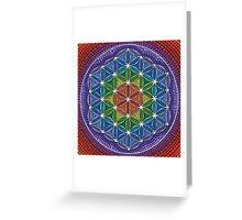 Rainbow Flower of Life Greeting Card