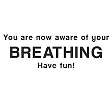 You are now aware of your breathing. Have fun! Photographic Print
