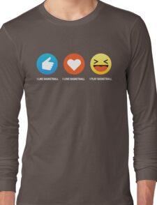 I Love Basketball Emoji Emoticon Simple Style Graphic Tee Shirt Long Sleeve T-Shirt