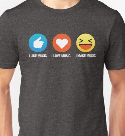 I Love Music Emoji Emoticon Graphic Tee Shirt Funny Unisex T-Shirt