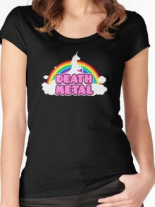 Unicorn Rainbow Death Metal Women's Fitted Scoop T-Shirt
