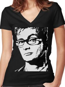 David Tennant: 10th Doctor Women's Fitted V-Neck T-Shirt