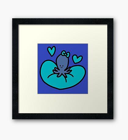 Blue Heart Octopus Framed Print