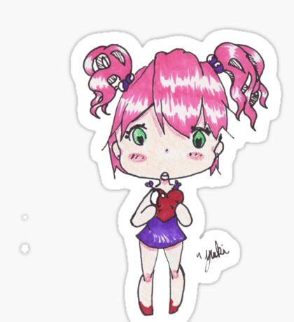 Holding My Heart - Anime style chibi girl Sticker