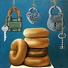 Bagels & Locks still life painting by LindaAppleArt
