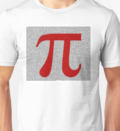 Pi to 10000 - 10k - Digits in Monotype, Red Symbol on White Unisex T-Shirt