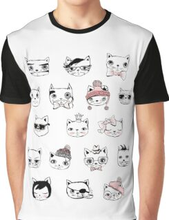 Hipster Cat Head Face Collage Kitty Kitten Cats Funny Weird Nerd Geek Cartoon Doodle Art Graphic T-Shirt