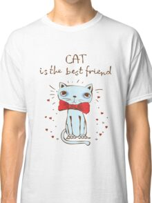 Cat Is The Best Friend Hipster Cat Cute Hearts Kitty Kitten Cats Funny Weird Nerd Geek Cartoon Doodle Art Classic T-Shirt