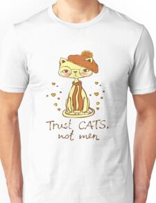 Trust Cats Not Men Beret Hat Glasses Nerd Geek Relationship Break-Up Love Hipster Cat Cute Hearts Kitty Kitten Cats Funny Weird Nerd Geek Cartoon Doodle Art Unisex T-Shirt