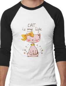 Cat Is My Life Hipster Cat Cute Hearts Kitty Kitten Cats Funny Weird Nerd Geek Cartoon Doodle Art Men's Baseball ¾ T-Shirt