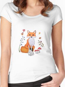 Cute orange fox with toadstools and ladybug Women's Fitted Scoop T-Shirt