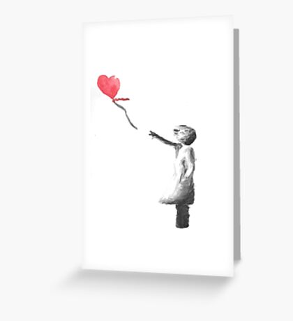 Banksy Girl With Balloon Watercolor Greeting Card