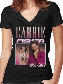 Carrie Fisher Retro Shirt Women's Fitted V-Neck T-Shirt