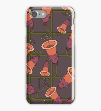 Pattern with flowers with orange buds iPhone Case/Skin