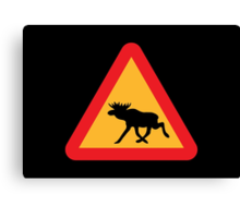 Caution Moose Sign Canvas Print