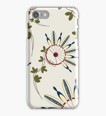 Pattern with flowers Indians iPhone Case/Skin