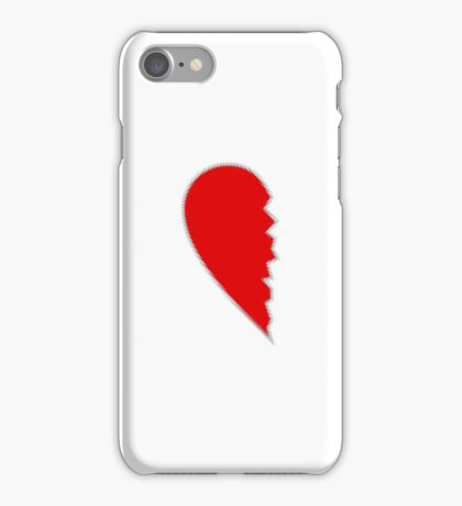 Red broken heart on white iPhone Case/Skin