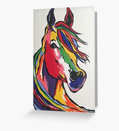 Angie's rainbow horse! Greeting Card