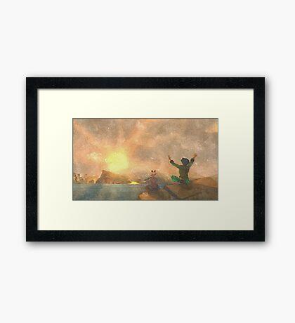 Yoga face to the Sun - 瑜伽面对太阳 Framed Print