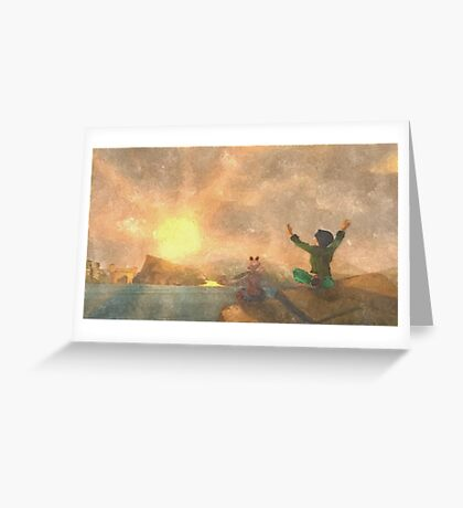 Yoga face to the Sun - 瑜伽面对太阳 Greeting Card