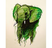 Elephant Watercolor (Green) Photographic Print