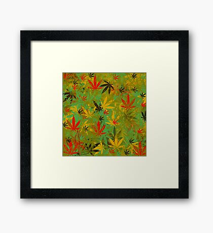 Marijuana Cannabis Weed Rasta w/ 4:20 Hidden In Design Framed Print