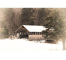 New England Winter ~ Covered Bridge Photographic Print
