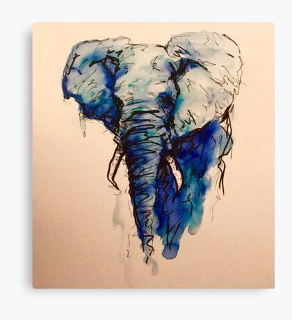 Elephant Watercolor (Blue) Canvas Print