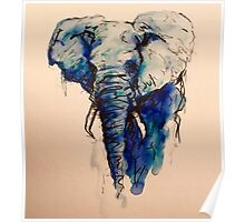 Elephant Watercolor (Blue) Poster