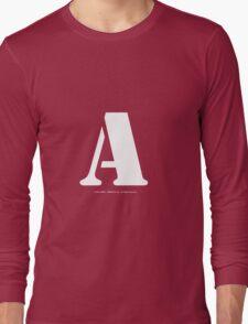 A - White Text Long Sleeve T-Shirt