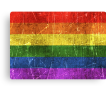 Vintage Aged and Scratched Rainbow Gay Pride Flag Canvas Print