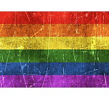 Vintage Aged and Scratched Rainbow Gay Pride Flag Photographic Print