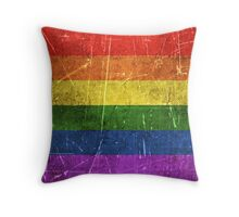 Vintage Aged and Scratched Rainbow Gay Pride Flag Throw Pillow