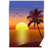 Sunset at tropical beach Poster