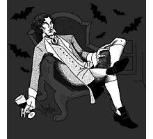 Sherlock - Vampire AU (black & white) Photographic Print