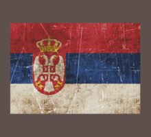 Vintage Aged and Scratched Serbian Flag Kids Clothes