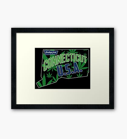 Connecticut  Marijuana Cannabis Weed Connecticut  Framed Print