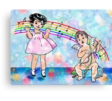 Jumping For Joy - Vintage Child And Cupid Music Illustration Canvas Print