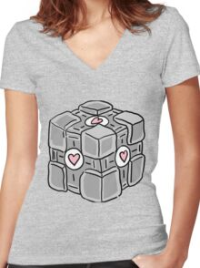 Companion Cube Doodle Women's Fitted V-Neck T-Shirt